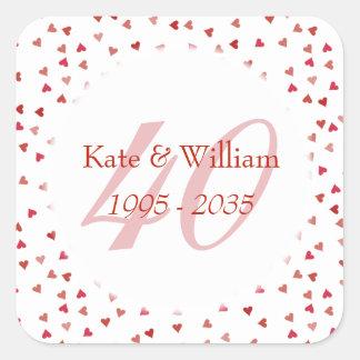 Adesivo Quadrado 40th Confetes dos corações do rubi do aniversário