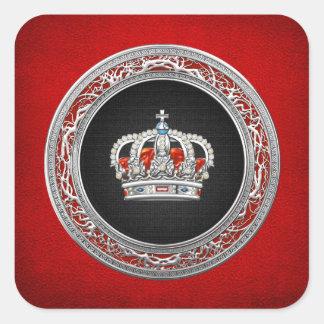 Adesivo Quadrado [500] Príncipe-Princesa Rei-Rainha Coroa [prata]