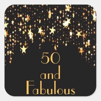 Adesivo Quadrado 50 e fabuloso no preto com estrelas de brilho