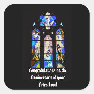 Adesivo Quadrado 50th do aniversário 15o do padre 20o 25o 30o 40th