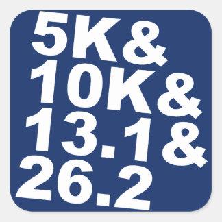 Adesivo Quadrado 5K&10K&13.1&26.2 (branco)