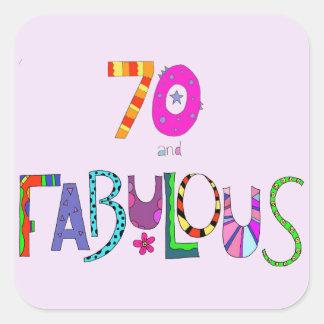 Adesivo Quadrado 70 e aniversário fabuloso do 70