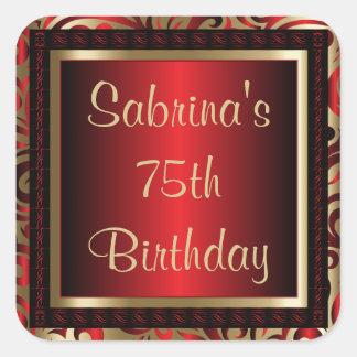 Adesivo Quadrado 75th Texto da festa de aniversário | DIY