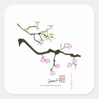Adesivo Quadrado 7 flores de sakura com 7 pássaros, fernandes tony