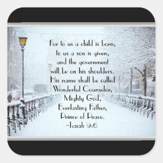 Adesivo Quadrado 9:6 de Isaiah para a nós uma criança é nascida,
