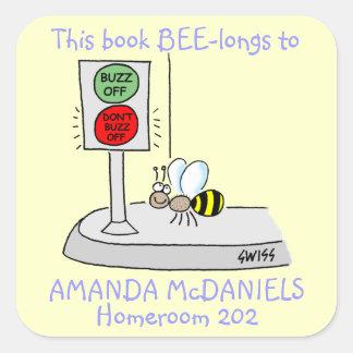 Adesivo Quadrado A abelha bonito dos desenhos animados este livro