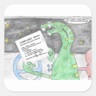 Adesivo Quadrado A alienígena obtem um bilhete
