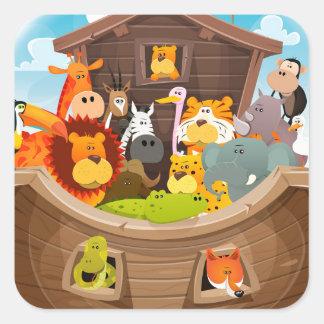 Adesivo Quadrado A arca de Noah com animais da selva