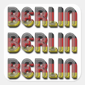 Adesivo Quadrado A bandeira alemão de Berlim Alemanha colore a