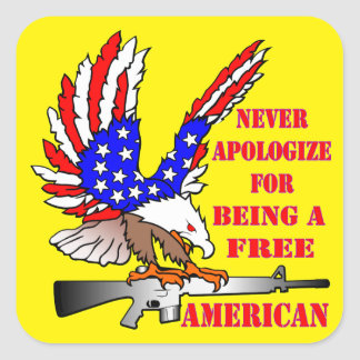 Adesivo Quadrado A bandeira Eagle Ar-15 M16 nunca desculpa-se sendo