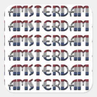 Adesivo Quadrado A bandeira holandesa de Amsterdão colore a