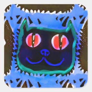 Adesivo Quadrado a cabeça do gato azul telhou o inverse da