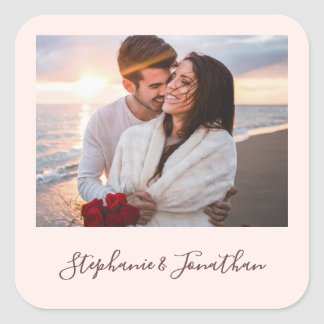 Adesivo Quadrado A caligrafia chique cora casamento cor-de-rosa da