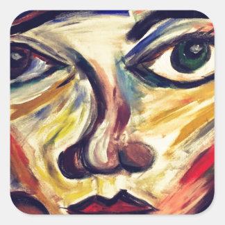 Adesivo Quadrado A cara da mulher abstrata