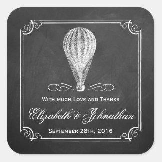 Adesivo Quadrado A coleção do casamento do balão de ar quente do