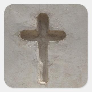 Adesivo Quadrado A cruz cristã primitiva personaliza a bíblia