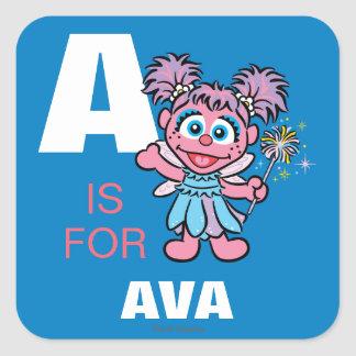 Adesivo Quadrado A é para Abby Cadabby que | adicionam seu nome