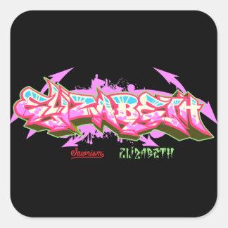 Adesivo Quadrado A Elizabeth conhecida na grafite-Etiqueta