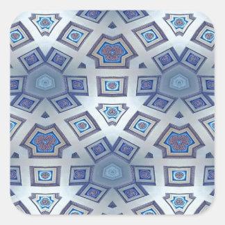 Adesivo Quadrado A engrenagem geométrica artística azul gosta do