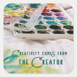 Adesivo Quadrado A faculdade criadora vem do criador