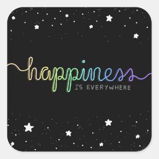 Adesivo Quadrado A felicidade está em toda parte
