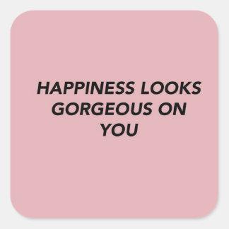 Adesivo Quadrado A felicidade olha lindo em você
