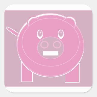 Adesivo Quadrado A forma fez o porco