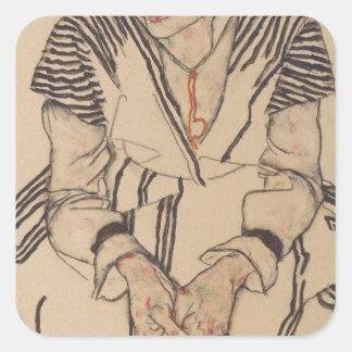 Adesivo Quadrado A irmã do artista de Egon Schiele- na lei