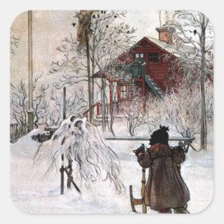 Adesivo Quadrado A jarda e o Lavagem-House, Carl Larsson