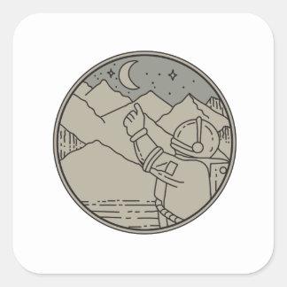 Adesivo Quadrado A lua do astronauta Stars a mono linha do círculo