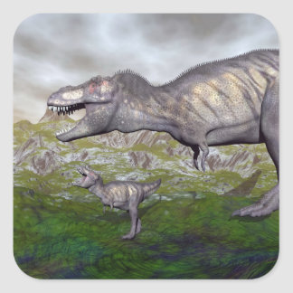 Adesivo Quadrado A mãe do dinossauro do rex do tiranossauro e o