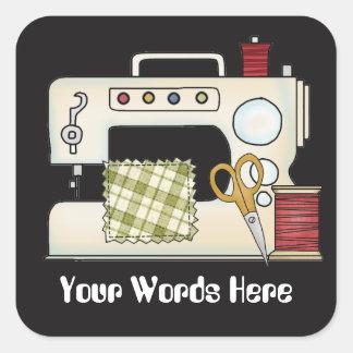 Adesivo Quadrado A máquina de costura adiciona as palavras que