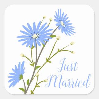 Adesivo Quadrado A margarida floral do recem casados floresce o