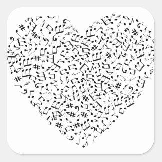 Adesivo Quadrado A música nota o coração