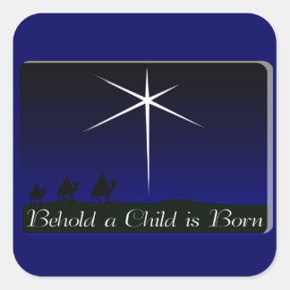 Adesivo Quadrado A natividade uma criança é nascida