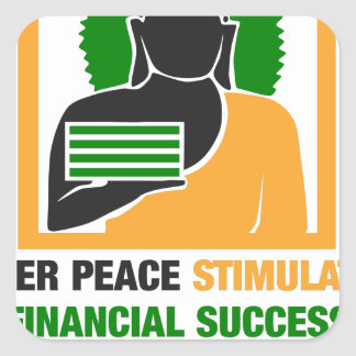 Adesivo Quadrado A paz interna estimula o sucesso financeiro
