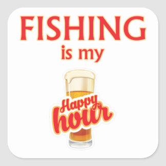 Adesivo Quadrado A pesca é meu happy hour