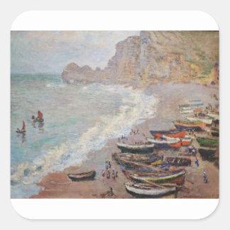 Adesivo Quadrado A praia em Etretat - Claude Monet