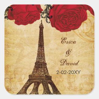 Adesivo Quadrado a torre Eiffel vermelha Paris do vintage envolve