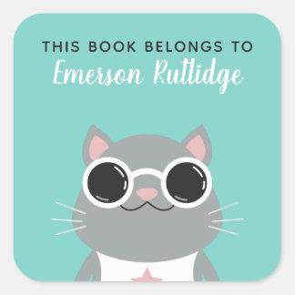 Adesivo Quadrado A turquesa cinzenta legal do gato   este livro