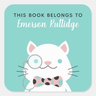 Adesivo Quadrado A turquesa extravagante do gato | este livro