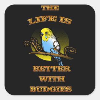 Adesivo Quadrado A vida é melhor com Budgie