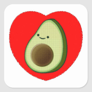 Adesivo Quadrado Abacate bonito no coração vermelho