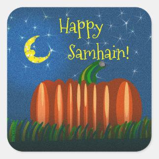 Adesivo Quadrado Abóbora de Samhain sob a lua & as estrelas
