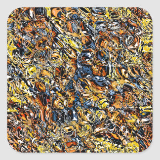 Adesivo Quadrado Abstrato da laranja e do azul