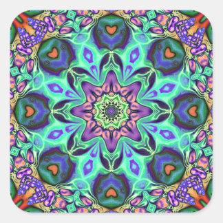Adesivo Quadrado Abstrato da mandala de turquesa