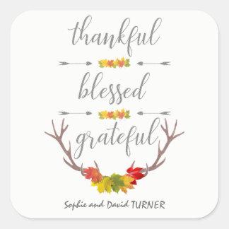 Adesivo Quadrado Acção de graças grata abençoada grata do Antler da