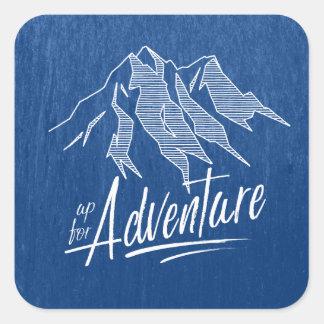 Adesivo Quadrado Acima para das montanhas ID358 branco da aventura