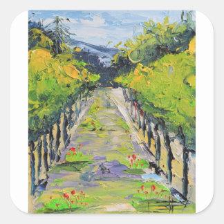 Adesivo Quadrado Adega de Califórnia, videiras do vinhedo do verão