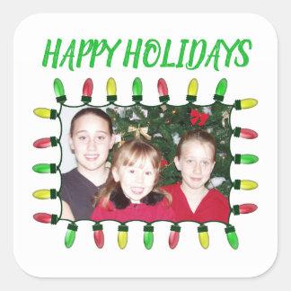 Adesivo Quadrado Adicione boas festas suas luzes de Natal da foto